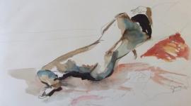 Genevieve-Bonnet-Cadith-nue-de-dos-au-coussin-rouge-aquarelle-35X45-2016