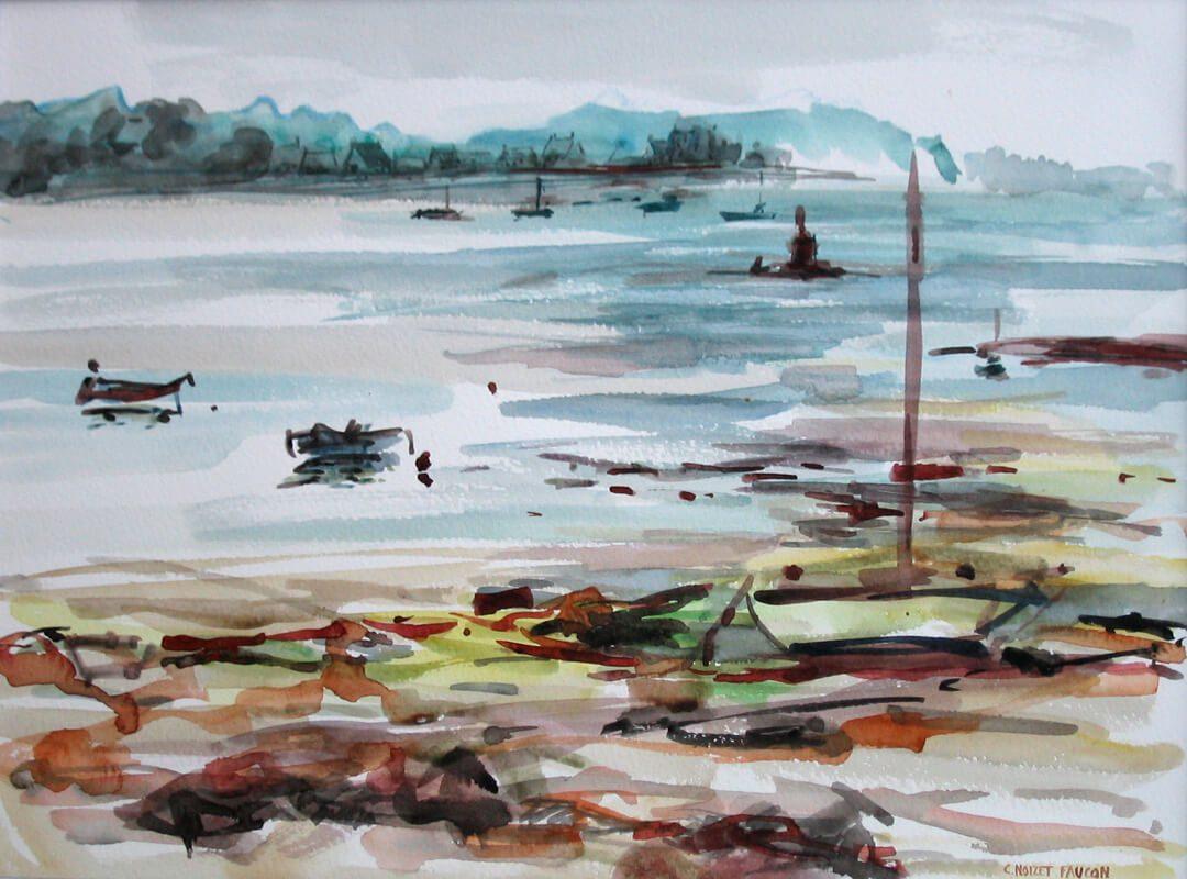 Catherine Noizet Faucon_Marée basse au Henan_aquarelle_32x40_