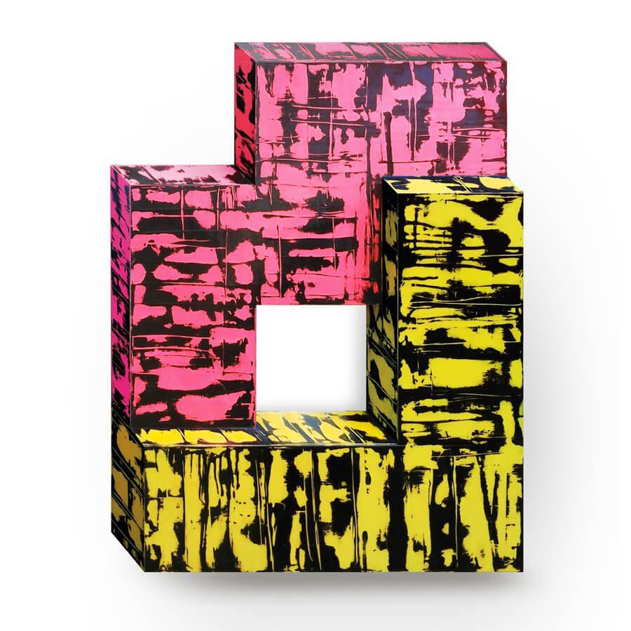 Philippe-Sabin-Stele-21-3-couches-d-acrylique-couleur-plus-une-couche-noire-fondue-chimiquement-sur-bois-54x72x9cm