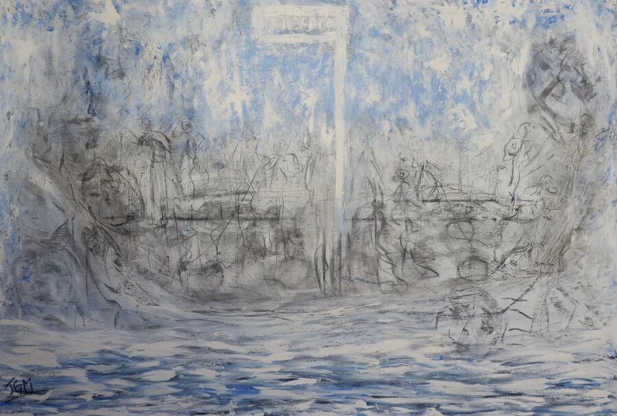 Sans Titre, 2015, 130 x 89 cm, huile et fusain sur toile