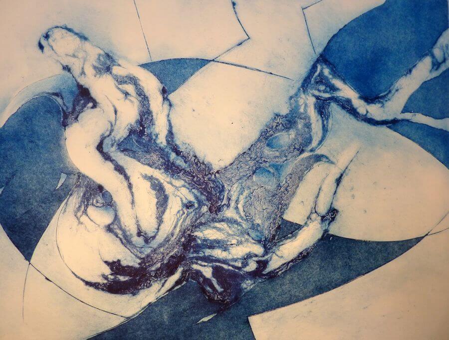 Mystère - Caroline Lesgourgues - Gravure Collagraphie -65 x 50 cm