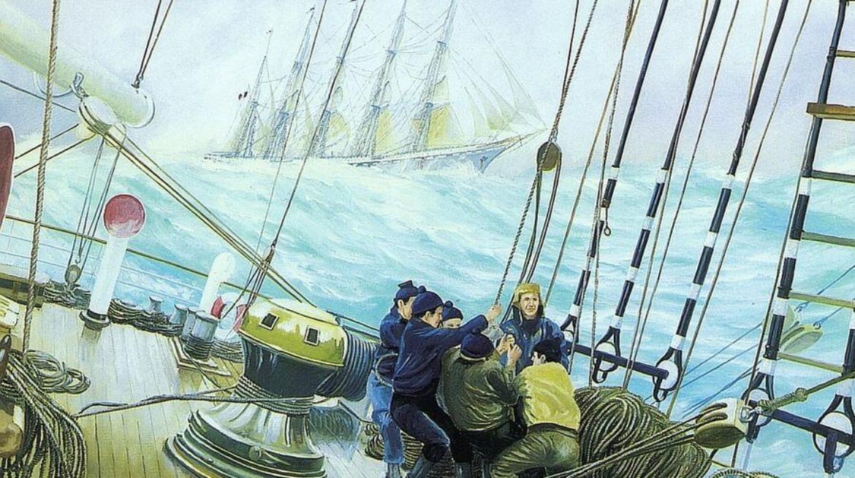 On board a sailing ship 70x90 Oil